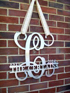 Metal monogram door hanger, Monogrammed metal wreath, Metal wall art, Sign, Wedding gift, Established monogram sign,Personalized gift by housesensations on Etsy https://www.etsy.com/listing/228087320/metal-monogram-door-hanger-monogrammed