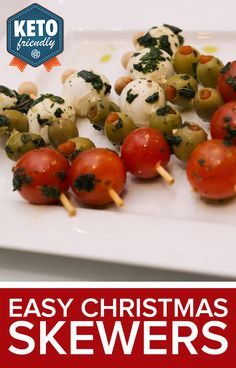 What BETTER way to channel some festive food than these easy Christmas Skewers! This recipe is easy to accommodate all flavor palettes, just use your favorite red, white, and green foods!