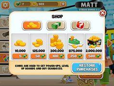 Skyline Skaters Virtual currency Bank: screenshots, UI