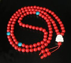 108 Turquoise Red Blue Ball & White Buddha Beads Buddhist Prayer Necklace 52