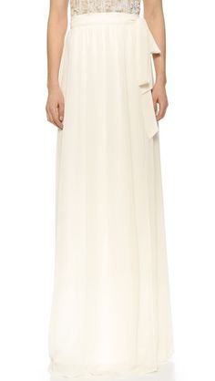 Joanna August Whitney Wrap Maxi Skirt-This Joanna August wrap skirt cuts a statuesque line in an elegant maxi length. A sash ties at the ruched waist. Fully lined. Designer Bridesmaid Dresses, Wedding Bridesmaid Dresses, Bridesmaids, 2 Piece Wedding Dress, Joanna August, White Tee Shirts, Traditional Wedding Dresses, Couture, Spring Summer Fashion