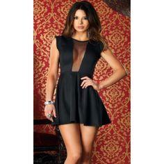 Sleeveless Center Mesh Dress #883108-S Sleeveless a-line dress with center mesh strip and full mesh back. 95%olyester 5% spandex. Dresses