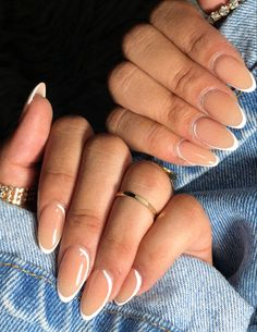 Acrylic Nails Almond Classy, French Acrylic Nails, Classy Nails, Stylish Nails, Short Almond Nails, Almond Shape Nails, Classy Nail Designs, Almond Nails Designs, Neutral Nails