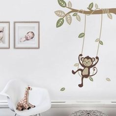 """A fun and playful monkey on a swing, multi-colored leaves, and a swooping vine! Perfect for any spot in your baby nursery or kids room! Size: Overall Size (approx): 40""""w x 53""""h What's Included: Branch"""