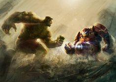 #Hulk #Fan #Art. (Hulk vs HulkBuster) By: Guille Mendoza. (THE * 5 * STÅR * ÅWARD * OF: * AW YEAH, IT'S MAJOR ÅWESOMENESS!!!™)[THANK Ü 4 PINNING<·><]<©>ÅÅÅ+