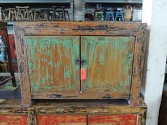 Chinese Storage Cabinet Console or Media Piece in Distressed Green Los Angeles by ModernRedLA, $999.00