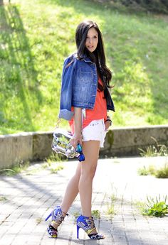 @roressclothes clothing ideas #women fashion denim jacket, white shorts, orange blouse, heels.