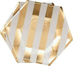 Loving these Gold Stripe Paper Plates for a golden birthday party !