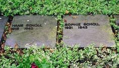 Hans Scholl 1918-1943. Sophie Scholl 1921-1943.    The graves of Hans Scholl, Sophie Scholl in Perlach Cemetery. The cemetery is adjacent to Stadelheim prison where the White Rose members were executed.    http://fcit.usf.edu/holocaust/photos/wrose/wrose.htm