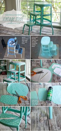 DIY Upcycled Vintage Step Stool 2019 Before and After: My Vintage Step Stool This would be pretty to redo the stool we got from Nana & Papa. The post DIY Upcycled Vintage Step Stool 2019 appeared first on Vintage ideas. Banco Vintage, Vintage Stool, Furniture Making, Diy Furniture, Bedroom Furniture, Plywood Furniture, Furniture Design, Transforming Furniture, Furniture Repair