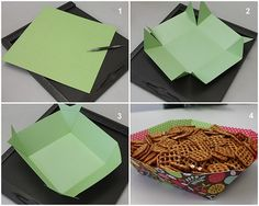 Paper bowls for themed parties made out of 12x12 paper