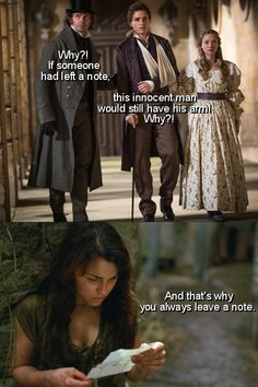 That's why you always leave a note! You could have saved Eddie's arm! (les mis + arrested development)