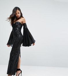 bcb3f4af Shop Bariano Embellished Sweetheart Column Maxi Dress With Fluted Sleeve at  ASOS.