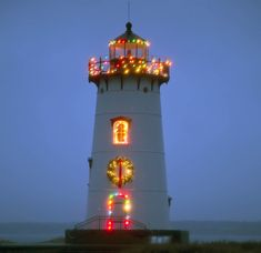 Christmas in Edgartown, Martha's Vineyard, MA. Decorated Lighthouse.