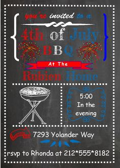 4th of July Party and Patriotic invitations chalkboard fireworks grill