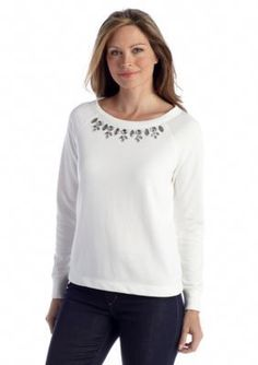 Ruby Rd  Shades of Grey Embellished Knit Top
