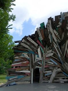 art sculpture made from demolished abandoned houses in the Fifth Ward  in Houston Texas