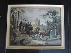 Large Vintage Paint by Numbers Framed Painting Horse by oldson, $50.00
