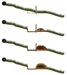 building a simple garden swale for good water retention. For planting a hedge windbreak behind the house Forest Garden, Rain Garden, Water Garden, Conservação Do Solo, Landscape Design, Garden Design, Yard Drainage, Sloped Garden, Water Management