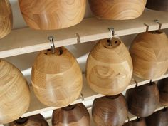 Hand sanded and organically oiled wooden lamps drying naturally over a few days. www.obeandco.com
