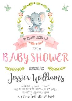 Elephant Baby Shower Invitation Invite Pastel Watercolor Vintage Shabby Chic Painted