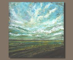big sky painting, large abstract painting, clouds, expressionist landscape, earthy colors, large art (30x30) The Endless Day