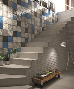 Iris Ceramica majolica tiles underline the decorative nature of wall coverings with combinations of modular sizes and a multitude of different chromatic geometries Tile Stairs, Stair Walls, Basement Stair, Mosaic Wallpaper, Wood Wallpaper, Ceramic Wall Tiles, Glass Mosaic Tiles, Marble Tiles, Gaudi