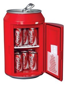 The perfect gift for Coke lovers! Koolatron CC10G Coca-Cola Can-Shaped 8-Can-Capacity Fridge, Red. Comes with a 12-volt adapter for using it in your car.