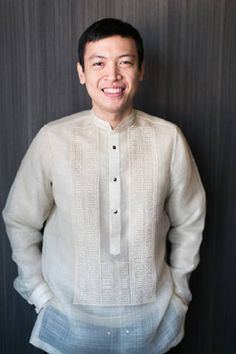 The groomed donned a traditional barong with a Chinese collar on the big day. | www.BridalBook.ph