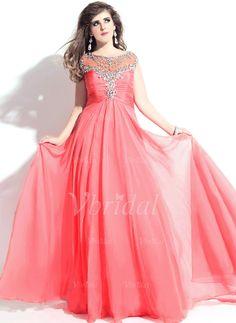 Evening Dresses - $154.06 - A-Line/Princess Sweetheart Scoop Neck Floor-Length Chiffon Evening Dress With Ruffle Beading (0175057898)