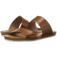Trask Shea (Tan Calfskin) Women's Sandals ($228) ❤ liked on Polyvore featuring shoes, sandals, calfskin shoes, slip on sandals, slip on shoes, tan sandals and calf leather shoes