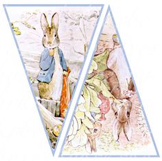Peter Rabbit banner 10 flags 5 X 7.5 inches by boxesbybrkr on Etsy