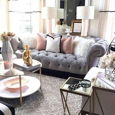 Glam living room decor how one couch inspired a living room transformation farmhouse glam living room Glam Living Room, Room Inspiration, House Interior, Apartment Room, Room Makeover, Apartment Decor, Living Room Transformation, Apartment Living, Living Room Grey