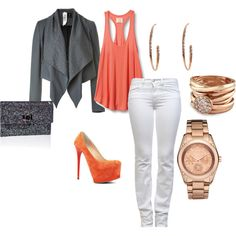 white jean, coral and grey cardi