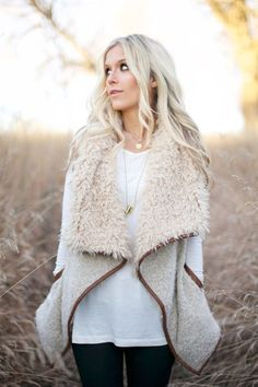 Solid Shearling Contrast Open Vest OMG!! I need it!!!!