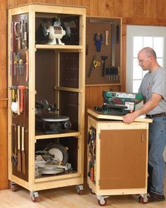 """Save valuable space by storing your benchtop tools vertically on trays in a roll-around cabinet. The matching tool base makes a perfect mobile workstation. Build one or more of each.Overall dimensions of tool cabinet: 28"""" wide, 25"""" deep, 86"""" highOverall dimensions of tool base: 22"""" wide, 23"""" deep, 37"""" high"""