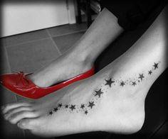 Stars on foot tattoo