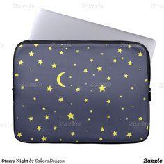 Starry Night Laptop Computer Sleeve #stars #night #sky #moon #crescent