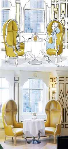 ~Bergdorf Goodman BG Restaurant Chairs | photo Annie Schlechter | Kelly Wearstler Designs | Megan Hess, Illustration | House of Beccaria