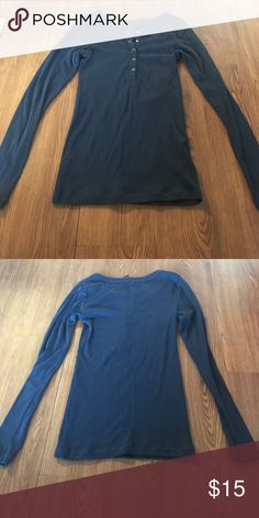 Tee Shop quarter button long-sleeve top Tight fit. Navy color. 5 buttons. Made in Sri Lanka. Tee Shop Tops Blouses