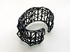 black cuff - Faceted Cuff bracelet in Black. modern design 3D printed. spring fashion gifts, statement jewelry. $32.00, via Etsy.