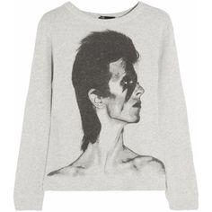 Maje Flash David Bowie-print cotton-jersey sweatshirt (145 AUD) ❤ liked on Polyvore featuring tops, hoodies, sweatshirts, sweaters, shirts, long sleeved, grey, print long sleeve shirt, grey sweatshirt and gray sweatshirt