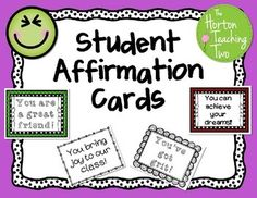 Give your students or coworkers a pick me up with these Student Affirmation Cards! I've been writing positive messages for my students on sticky notes for years and created these to make the process more manageable and less time consuming. Check out this and other products by the Horton Teaching Two TpT store!