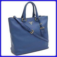 Prada Vit Vitello Daino Cobalto Blue Pebbled Leather Shopping Tote Handbag with Shoulder Strap BN2865 - Totes (*Amazon Partner-Link)