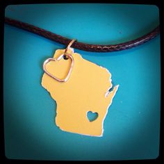 Wisconsin necklace customized with color of your choosing going away present long distance relationship by MollysHandmadeGifts on Etsy https://www.etsy.com/listing/240524577/wisconsin-necklace-customized-with-color