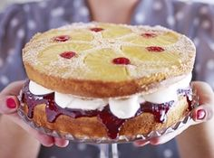 Pineapple & cherry upside-down sandwich cake.This nostalgic sponge layer-cake is a trip down memory lane, fit for any afternoon tea party - fill generously with jam and vanilla cream. Bbc Good Food Recipes, Baking Recipes, Cake Recipes, Dessert Recipes, Sandwiches, Sandwich Cake, Pineapple Upside Down Cake, Pineapple Cake, British Desserts