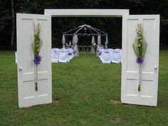 Wedding Doors used as an arch! Wedding Doors, Diy Wedding, Dream Wedding, Wedding Stuff, Wedding Ideas, Wedding Ceremony Decorations, Wedding Backdrops, Vintage Doors, Woodland Party