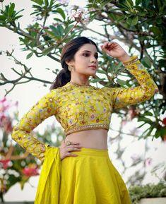 Aathmika Latest Photoshoot Stills - LinksInd Floral Lehenga, Yellow Lehenga, Lehenga Saree, Anarkali, Saree Blouse, India Fashion, Girl Fashion, Fashion Dresses, Kurta Designs