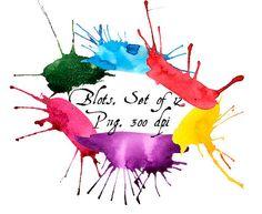 Watercolor blots clip art. Digital Watercolor от VectorGraphicArts