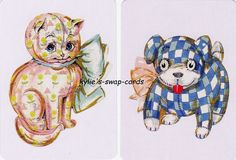 J39 PAIR swap playing cards MINT COND cute  PATCHWORK  puppy kitten cat dog toy